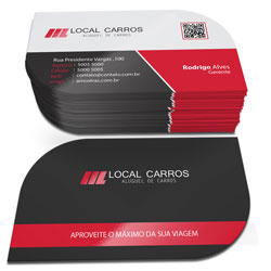 Cartão de Visita com Verniz Localizado Corte Folha