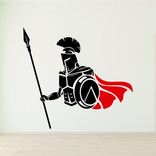 Gladiador Spartano com Capa Vermelha em Posição