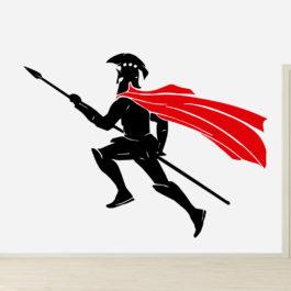 Gladiador Spartano com Capa Vermelha em Batalha