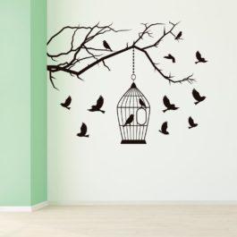 Galho Gaiola e Pássaros